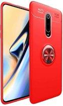 Teleplus Xiaomi Mi9T Case Ravel Ringed Silicone Case Red + Nano Screen Protector hoesje