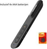 Draadloze Presenter met Laser 2.4GHz - Inclusief USB - Presentatie Klikker voor Powerpoint, Prezi, Keynote - Werkt met Windows, Mac OS, Linux, Android - Inclusief opberghoes