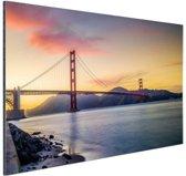 Golden Gate zonsondergang Aluminium 120x80 cm - Foto print op Aluminium (metaal wanddecoratie)