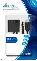 MediaRange HDMI™ to VGA converter, with 3.5mm audio socket, black