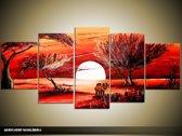 Acryl Schilderij Zonsondergang | Rood, Oranje | 150x70cm 5Luik Handgeschilderd