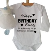 Rompertje Happy Birthday Daddy | Lange mouw | wit |