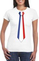 Wit t-shirt met Frankrijk vlag stropdas dames L