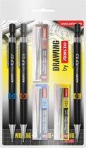 Vulpotlodenset Aristo HB 0.35/0.5/0.7mm met gratis potloodstiftjes