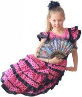 Spaanse jurk - Flamenco - Zwart/Roze - Maat 116/122 (8) - Verkleed jurk