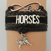 Armband met paard en infinity teken zwart