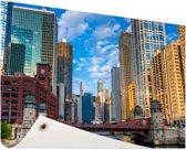 Chicago rivier Tuinposter 200x100 cm - Tuindoek / Buitencanvas / Schilderijen voor buiten (tuin decoratie) XXL / Groot formaat!