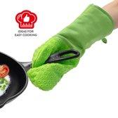 Professionele Hittebestendige Siliconen Ovenwant - Oven/BBQ/Siliconen Oven Handschoen Pannenlap - Extra Lang - Anti-slip - Hittebestendig Tot 230 °C