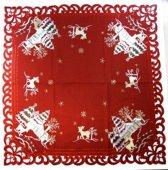 Kerstkleed - Linnenlook - Hert - Rood - Vierkant 85 cm - 8837