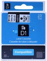 Dymo tape zwart transparant - 12 mm   12mm. zwart op transparant
