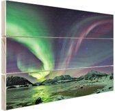Groen en paars noorderlicht Hout 120x80 cm - Foto print op Hout (Wanddecoratie)