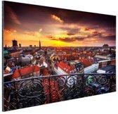 Kopenhagen bij nacht Aluminium 90x60 cm - Foto print op Aluminium (metaal wanddecoratie)