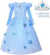 Prinsessen jurk verkleedjurk 140-146 (140) blauw Luxe met vlinders + GRATIS kroon