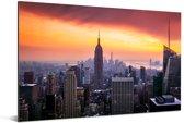 Zonsondergang over het Empire State Building Aluminium 90x60 cm - Foto print op Aluminium (metaal wanddecoratie)