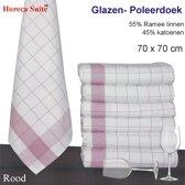 Homéé® Glazendoek - Poleerdoeken rood ruiten 70x70cm - set van 6 stuks - 50% Ramee 50% katoen