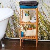 relaxdays Kast bamboe hout 3 planken, Open kastje, Badkamerkast, Badkamermeubel 33x79x33.