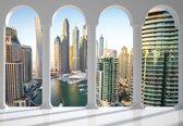 Fotobehang Dubai City Skyline Marina Arches | XXL - 312cm x 219cm | 130g/m2 Vlies