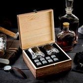 Whiskey stenen - whiskey stones - IJsblokken van natuursteen- 2 whiskey glazen- cadeau - gift set -