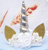 Unicorn cake topper zilver, eenhoorn taart  versiering + gratis wimpers