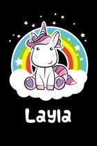 Layla: Personalized Name Notebook Blank Journal For Girls Or Women With Unicorn