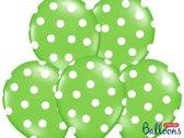 Ballonnen lime dots wit 50 stuks