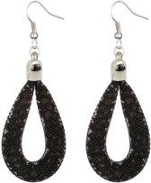 Fako Bijoux® - Oorbellen - Sterrenstof - Druppel - Mini - Zwart