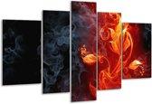 Glasschilderij Bloem | Rood, Zwart, Geel | 170x100cm 5Luik | Foto print op Glas |  F003290
