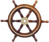 Stuurwiel Hout - Decoratief & Echt gebruik - Stuurwiel Boot - Met touwinleg - Diameter 45 cm