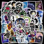 Sticker mix Tim Burton - 50 film tekeningen van Beetlejuice, Edward Scissorhands, Corpse Bride etc