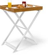 relaxdays dienbladtafel bamboe, bijzettafel opvouwbaar, butlertray opklapbaar