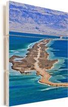 Luchtfoto van de dode Zee in het Midden-Oosten Vurenhout met planken 20x30 cm - klein - Foto print op Hout (Wanddecoratie)