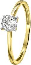Lucardi - Diamond Luxury - 14 Karaat geelgouden ring met diamant 0,08ct