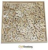 Houten ornamenten - Alfabet basic groot 250 pcs - box 16,8 x 16,8 cm [ Circa 2 cm letters ]