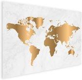 Wereldkaart Goud Marmer Poster Wanddecoratie klein 40x30 cm | Wereldkaart Poster