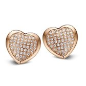 Silventi 921182211 Zilveren oorstekers - Hart micropavé bezet met Zirkonia - Rosékleurig