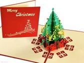 Popcards popupkaarten - Kerstkaart kerstboom met cadeautjes pop-up kaart