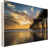 Zonsondergang bij de pier van San Diego in de Verenigde Staten Vurenhout met planken 60x40 cm - Foto print op Hout (Wanddecoratie)