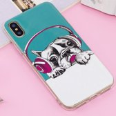 Let op type!! For iPhone X Noctilucent IMD Dog Pattern Soft TPU Back Case Protector Cover