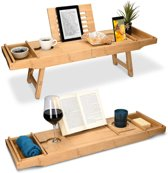 2in1 - Bad Plank - Bedtafel - Bamboe Hout - Tablethouder/Boekenhouder - Verstelbaar 74.5cm-108cm