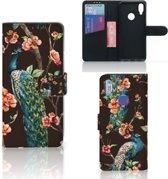 Xiaomi Redmi Note 7 Telefoonhoesje met Pasjes Pauw met Bloemen