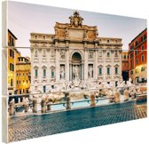 Trevifontein Rome Hout 120x80 cm - Foto print op Hout (Wanddecoratie)