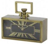 Klok brons goud zwart tafelklok rechthoek antiek 31x10x10