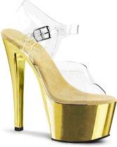 EU 40 = US 10 | SKY-308 | 7 Heel, 2 3/4 Chrome Plated PF Ankle Strap Sandal