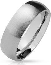 Ring Dames - Heren Ring - Zilverkleurig - Zilver Kleur - Ring met Geborstelde Look - Shine