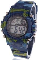 Digitaal stoer kinder camouflage/leger horloge - 38mm - blauw - I-deLuxe verpakking