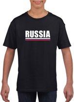 Zwart Rusland supporter t-shirt voor kinderen - Russische vlag shirts L (146-152)