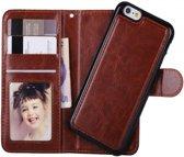 iPhone 6/6s Wallet Case Deluxe met uitneembare softcase, business hoesje in luxe uitvoering, bruin , merk i12Cover