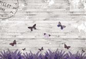 Fotobehang Butterflies Lavender Flowers Vintage   XXL - 206cm x 275cm   130g/m2 Vlies