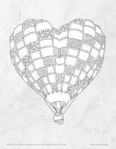 Marble Hot Air Balloon Bullet Journal with Floral Margins for Adult Coloring
