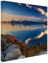Zonsondergang aan de kust van het fjord Canvas 120x80 cm - Foto print op Canvas schilderij (Wanddecoratie woonkamer / slaapkamer)